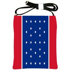 British American Flag Red Blue Star Shoulder Sling Bags by Mariart