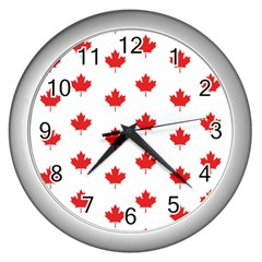 Canadian Maple Leaf Pattern Wall Clocks (silver)  by Mariart