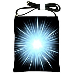 Bright Light On Black Background Shoulder Sling Bags by Mariart
