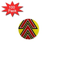 Chevron Symbols Multiple Large Red Yellow 1  Mini Magnets (100 Pack)  by Mariart