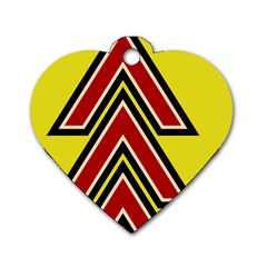 Chevron Symbols Multiple Large Red Yellow Dog Tag Heart (one Side) by Mariart