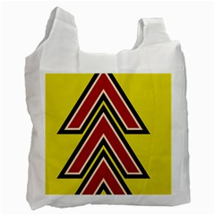 Chevron Symbols Multiple Large Red Yellow Recycle Bag (one Side) by Mariart