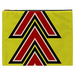 Chevron Symbols Multiple Large Red Yellow Cosmetic Bag (xxxl)  by Mariart
