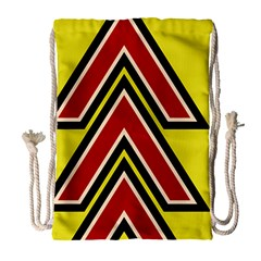 Chevron Symbols Multiple Large Red Yellow Drawstring Bag (large) by Mariart