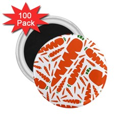 Carrots Fruit Vegetable Orange 2 25  Magnets (100 Pack)  by Mariart