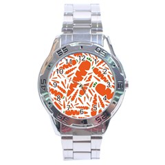Carrots Fruit Vegetable Orange Stainless Steel Analogue Watch by Mariart