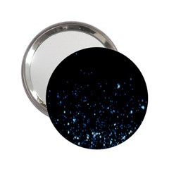 Blue Glowing Star Particle Random Motion Graphic Space Black 2 25  Handbag Mirrors by Mariart
