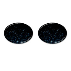 Blue Glowing Star Particle Random Motion Graphic Space Black Cufflinks (oval) by Mariart