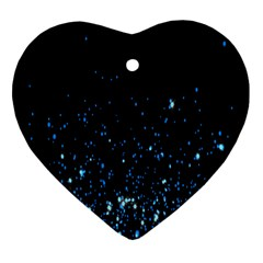 Blue Glowing Star Particle Random Motion Graphic Space Black Heart Ornament (two Sides) by Mariart
