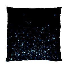 Blue Glowing Star Particle Random Motion Graphic Space Black Standard Cushion Case (two Sides) by Mariart