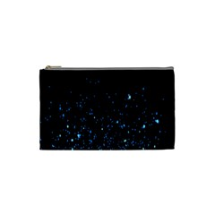 Blue Glowing Star Particle Random Motion Graphic Space Black Cosmetic Bag (small)  by Mariart