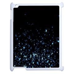 Blue Glowing Star Particle Random Motion Graphic Space Black Apple Ipad 2 Case (white) by Mariart