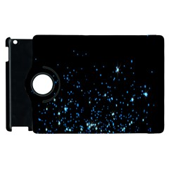 Blue Glowing Star Particle Random Motion Graphic Space Black Apple Ipad 2 Flip 360 Case by Mariart