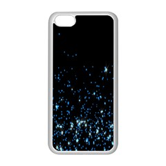 Blue Glowing Star Particle Random Motion Graphic Space Black Apple Iphone 5c Seamless Case (white) by Mariart