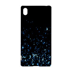 Blue Glowing Star Particle Random Motion Graphic Space Black Sony Xperia Z3+ by Mariart