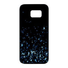 Blue Glowing Star Particle Random Motion Graphic Space Black Samsung Galaxy S7 Edge Black Seamless Case by Mariart