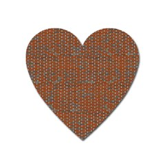 Brick Wall Brown Line Heart Magnet by Mariart