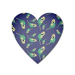 Canaries Budgie Pattern Bird Animals Cute Heart Magnet by Mariart