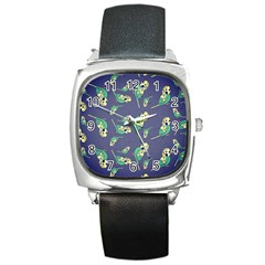 Canaries Budgie Pattern Bird Animals Cute Square Metal Watch by Mariart