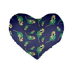 Canaries Budgie Pattern Bird Animals Cute Standard 16  Premium Flano Heart Shape Cushions by Mariart