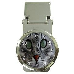 Cat Face Eyes Gray Fluffy Cute Animals Money Clip Watches by Mariart