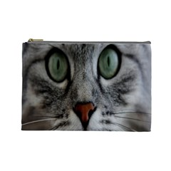 Cat Face Eyes Gray Fluffy Cute Animals Cosmetic Bag (large)  by Mariart