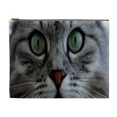 Cat Face Eyes Gray Fluffy Cute Animals Cosmetic Bag (xl) by Mariart