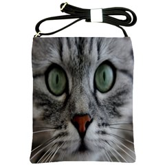 Cat Face Eyes Gray Fluffy Cute Animals Shoulder Sling Bags by Mariart