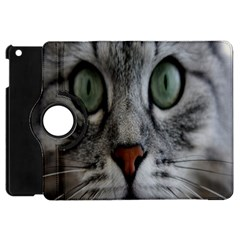 Cat Face Eyes Gray Fluffy Cute Animals Apple Ipad Mini Flip 360 Case by Mariart