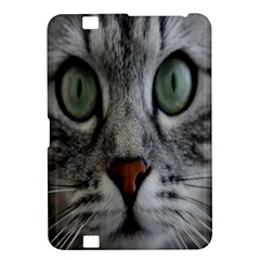 Cat Face Eyes Gray Fluffy Cute Animals Kindle Fire Hd 8 9  by Mariart