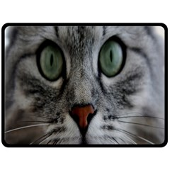 Cat Face Eyes Gray Fluffy Cute Animals Double Sided Fleece Blanket (large)  by Mariart