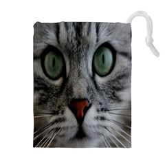 Cat Face Eyes Gray Fluffy Cute Animals Drawstring Pouches (extra Large) by Mariart