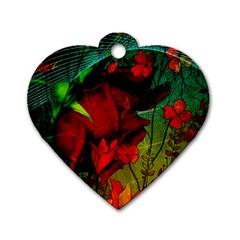 Flower Power, Wonderful Flowers, Vintage Design Dog Tag Heart (two Sides) by FantasyWorld7