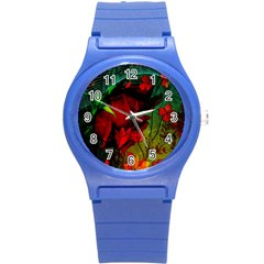 Flower Power, Wonderful Flowers, Vintage Design Round Plastic Sport Watch (s) by FantasyWorld7