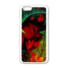 Flower Power, Wonderful Flowers, Vintage Design Apple Iphone 6/6s White Enamel Case by FantasyWorld7