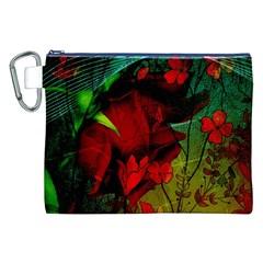Flower Power, Wonderful Flowers, Vintage Design Canvas Cosmetic Bag (xxl) by FantasyWorld7