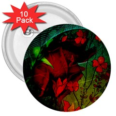 Flower Power, Wonderful Flowers, Vintage Design 3  Buttons (10 Pack)  by FantasyWorld7