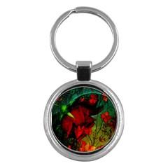 Flower Power, Wonderful Flowers, Vintage Design Key Chains (round)  by FantasyWorld7