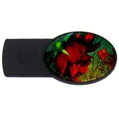 Flower Power, Wonderful Flowers, Vintage Design Usb Flash Drive Oval (4 Gb) by FantasyWorld7