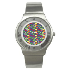 Fruit Melon Cherry Apple Strawberry Banana Apple Stainless Steel Watch by Mariart