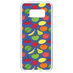Fruit Melon Cherry Apple Strawberry Banana Apple Samsung Galaxy S8 White Seamless Case by Mariart