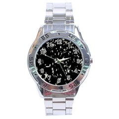 Falling Spinning Silver Stars Space White Black Stainless Steel Analogue Watch by Mariart