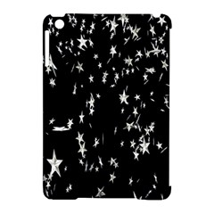 Falling Spinning Silver Stars Space White Black Apple Ipad Mini Hardshell Case (compatible With Smart Cover) by Mariart