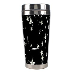 Falling Spinning Silver Stars Space White Black Stainless Steel Travel Tumblers by Mariart