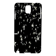 Falling Spinning Silver Stars Space White Black Samsung Galaxy Note 3 N9005 Hardshell Case by Mariart
