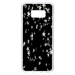 Falling Spinning Silver Stars Space White Black Samsung Galaxy S8 Plus White Seamless Case by Mariart