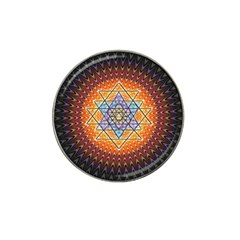 Cosmik Triangle Space Rainbow Light Blue Gold Orange Hat Clip Ball Marker (4 Pack) by Mariart