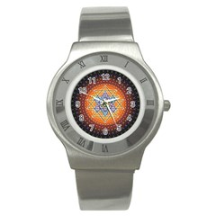 Cosmik Triangle Space Rainbow Light Blue Gold Orange Stainless Steel Watch by Mariart