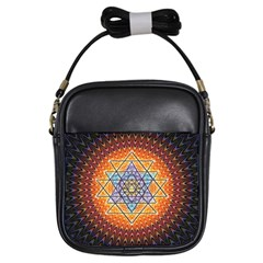 Cosmik Triangle Space Rainbow Light Blue Gold Orange Girls Sling Bags by Mariart