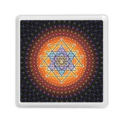 Cosmik Triangle Space Rainbow Light Blue Gold Orange Memory Card Reader (square)  by Mariart